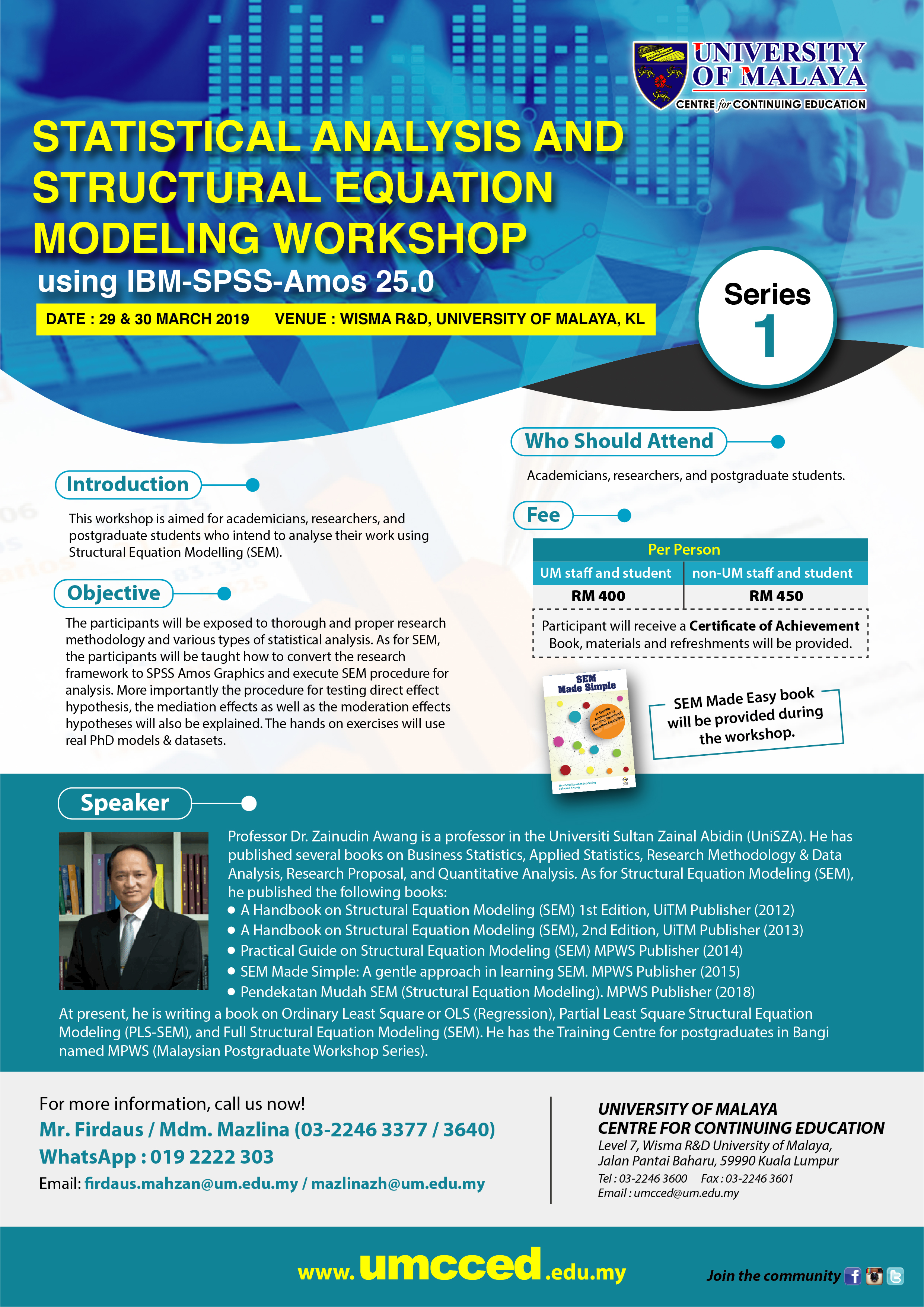 Statistical Analysis And Structural Equation Modeling Workshop